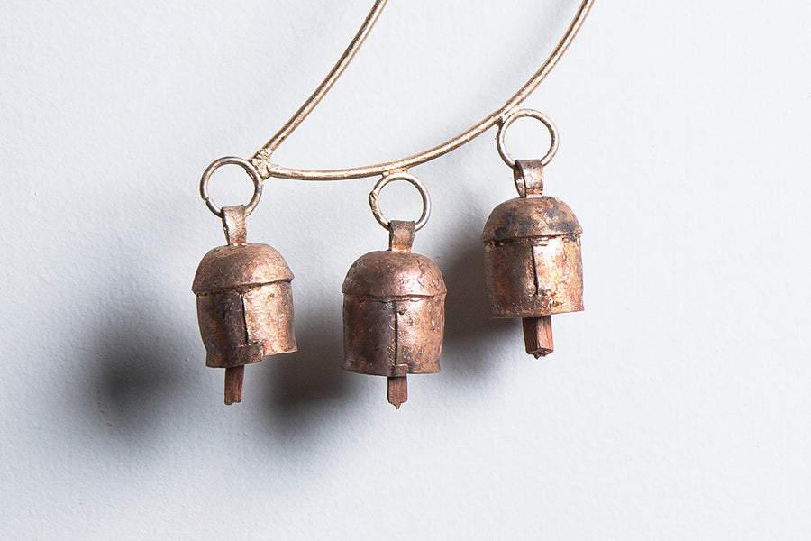 Kutch Copper Coated 3 Bell Small Moon