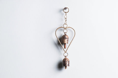 Kutch Copper Coated 2 Bell Heart Chimes