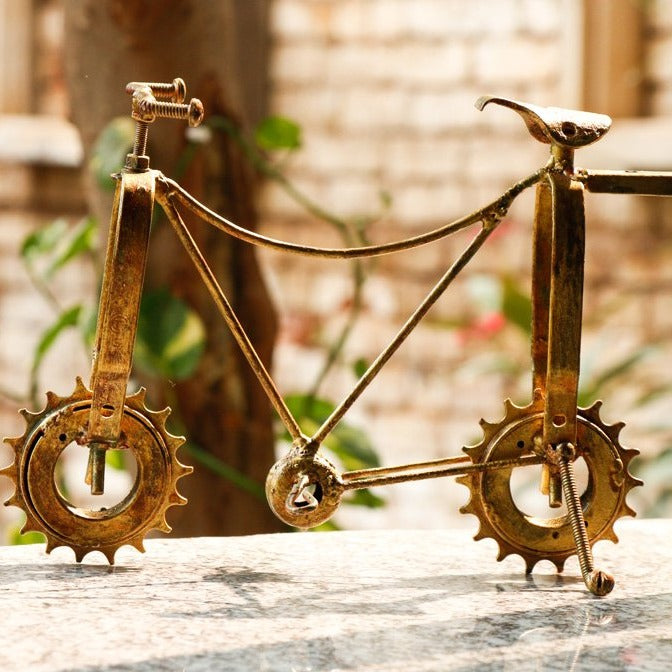 Bicycle - Handmade Recycled Junk Sculpture by Debabrata Ruidas