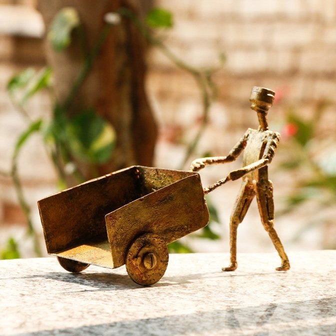 Pushing Cart - Handmade Recycled Junk Sculpture by Debabrata Ruidas
