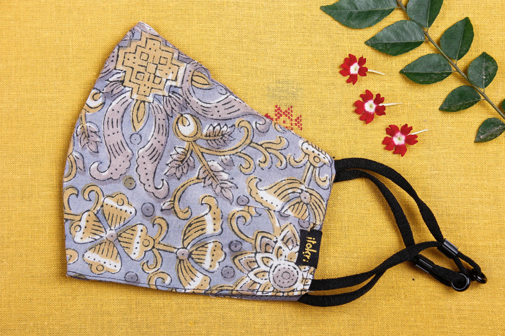 Sanganeri Block Printed Cotton Fabric 3 Layer Snug Fit Face Cover
