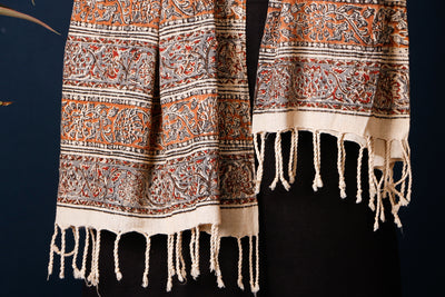 Mangalgiri Cotton Kalamkari Block Printed Natural Dyed Handloom Stole with Tassels by DAMA