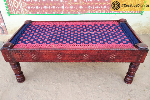 Handcarved Natural Neem Wood Long Chair by Vijay Jemal Marwada