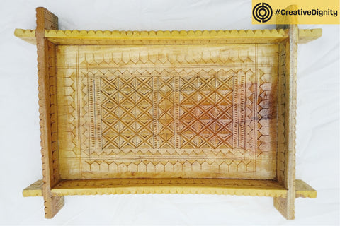 Handcarved Natural Neem Wood Tray by Vijay Jemal Marwada