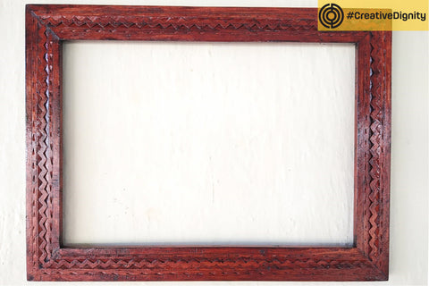 Handcarved Natural Neem Wood Frame by Vijay Jemal Marwada