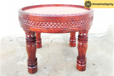 Handcarved Natural Neem Wood Table by Vijay Jemal Marwada