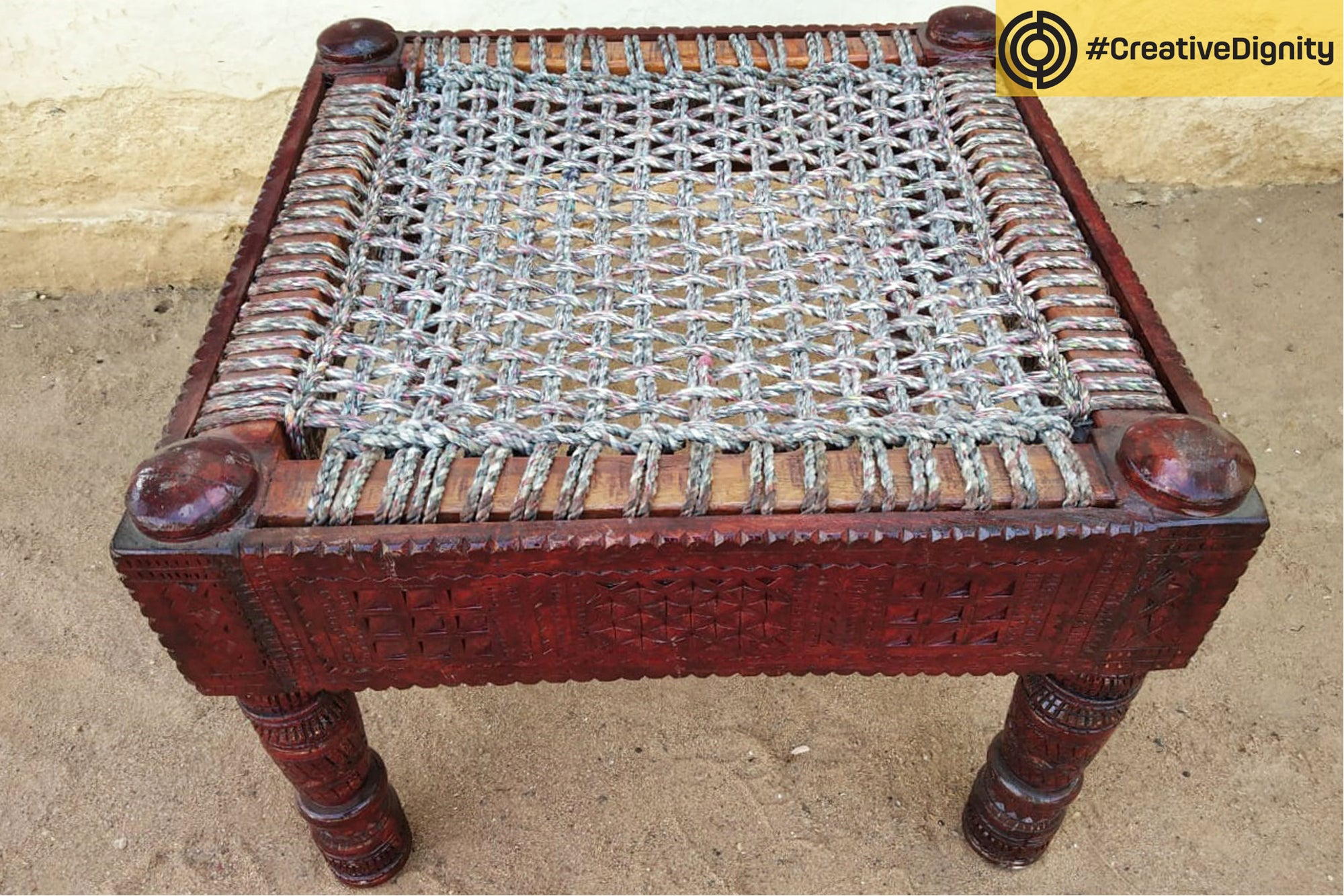 Handcarved Natural Neem Wood Chair by Vijay Jemal Marwada