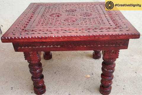 Handcarved Natural Neem Wood Bajot Stool by Vijay Jemal Marwada