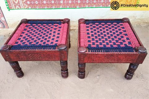 Handcarved Natural Neem Wood Chair Set by Vijay Jemal Marwada