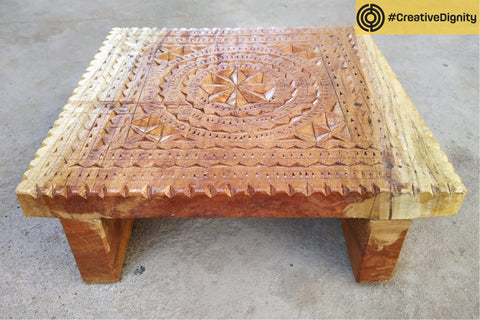 Handcarved Natural Neem Wood Stool by Vijay Jemal Marwada