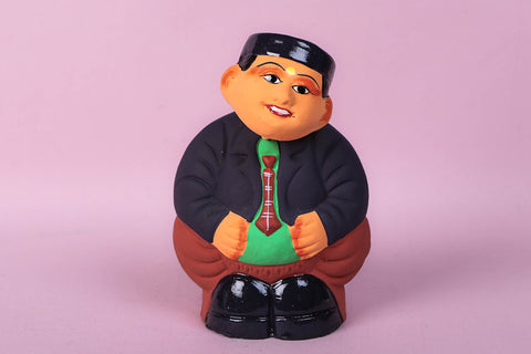 Handpainted Terracotta Bobble Head - Muneem Ji