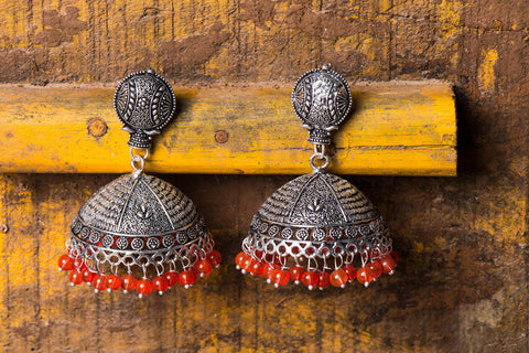Antique Finish German Silver Jhumki Earrings