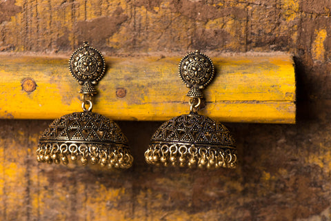 Antique Finish German Silver Gold Tone Jhumki Earrings