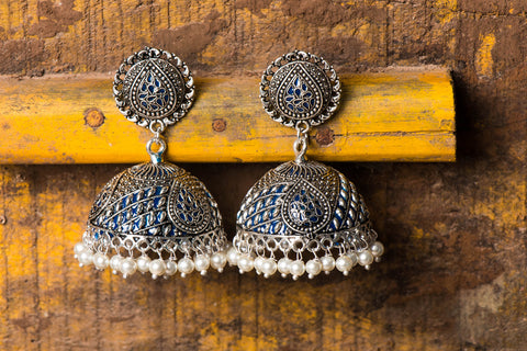 Antique Finish German Silver Jhumki Earring