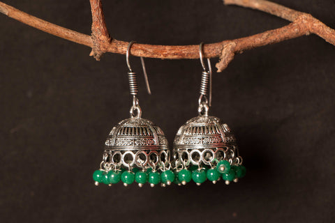 Antique Finish Bead Work Jhumka Earring