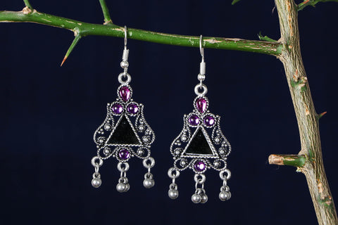 Meenakari Glass Work Antique Finish Oxidised GS Earrings