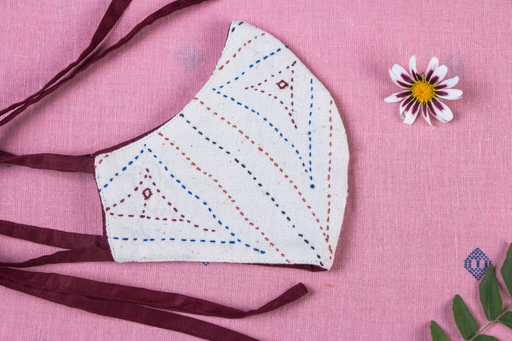 Kala Cotton Fabric Sebha Hand Embroidered 2 Layer Snug Fit Tie-on Mask