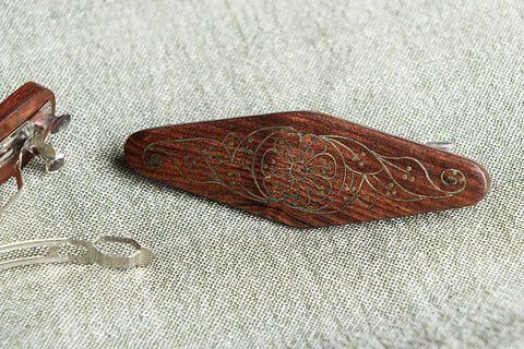 Handcarved Tarkashi Inlay Sheesham Wood Hair Clip