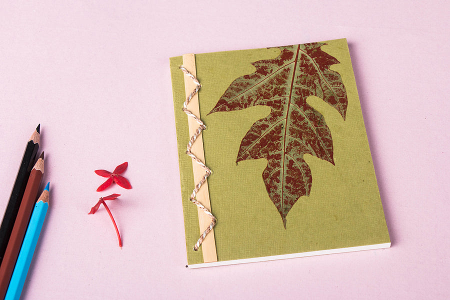Flower Art Work Special Bamboo Notebook (5.7 in x 4.5 in)