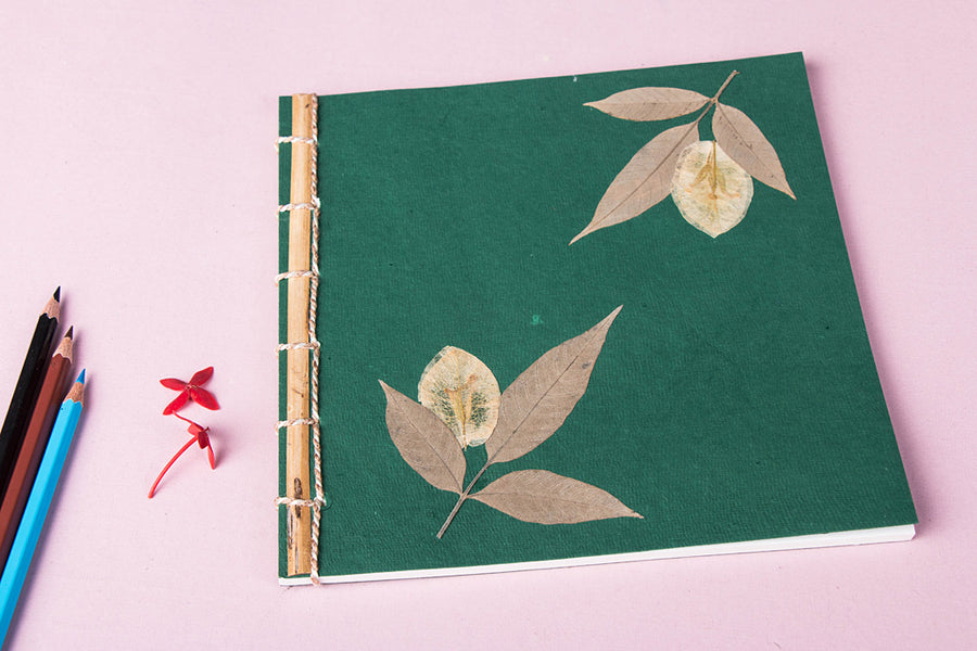 Flower Art Work Special Bamboo Notebook (8.3 in x 8.3 in)