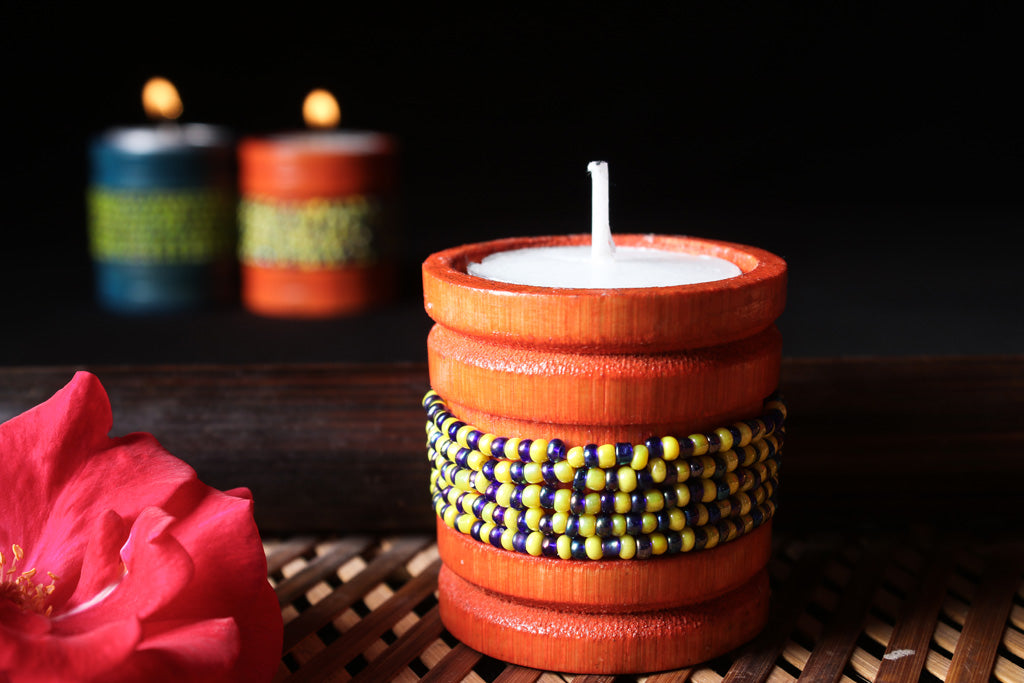 Handmade Bead Work Natural Bamboo Tealight Candle Holder