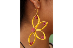 Yellow Half Flower Paper Earring