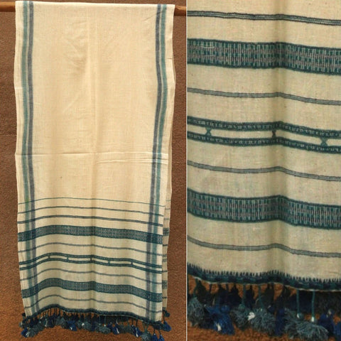 Kutch Weaving Handwoven Kala Cotton Stole by Vankar Babulal Ladhu