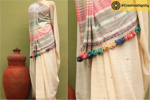 Kutch Weaving Handwoven Organic Kala Cotton Saree by Vankar Babulal Ladhu