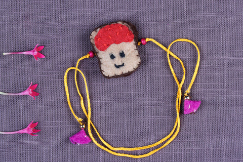 Hand Embroidered & Felt Work Kids Bead Work Bread Jam Rakhi