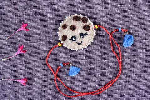 Hand Embroidered & Felt Work Kids Bead Work Choco Chip Cookie Rakhi