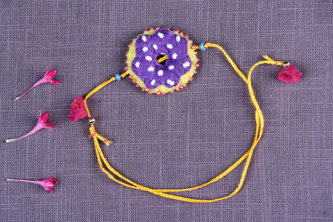 Hand Embroidered & Felt Work Kids Bead Work Donut Rakhi