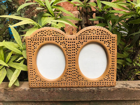 Hand Carved Loquat Wood Jali Double Photo Frame