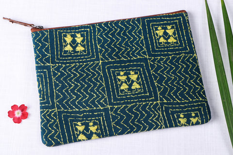 Handcrafted Kantha Embroidery Multipurpose Pouch