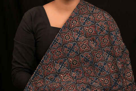 Ajrakh Block Print Natural Dyed Cotton Fabric
