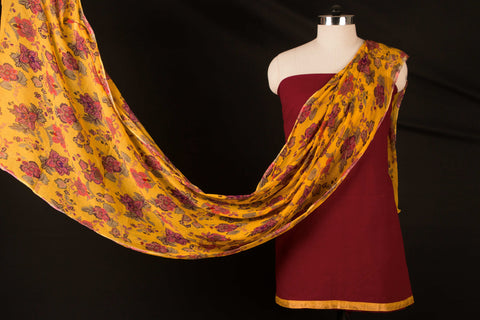Cotton Dress Material Set with Chiffon Printed Dupatta