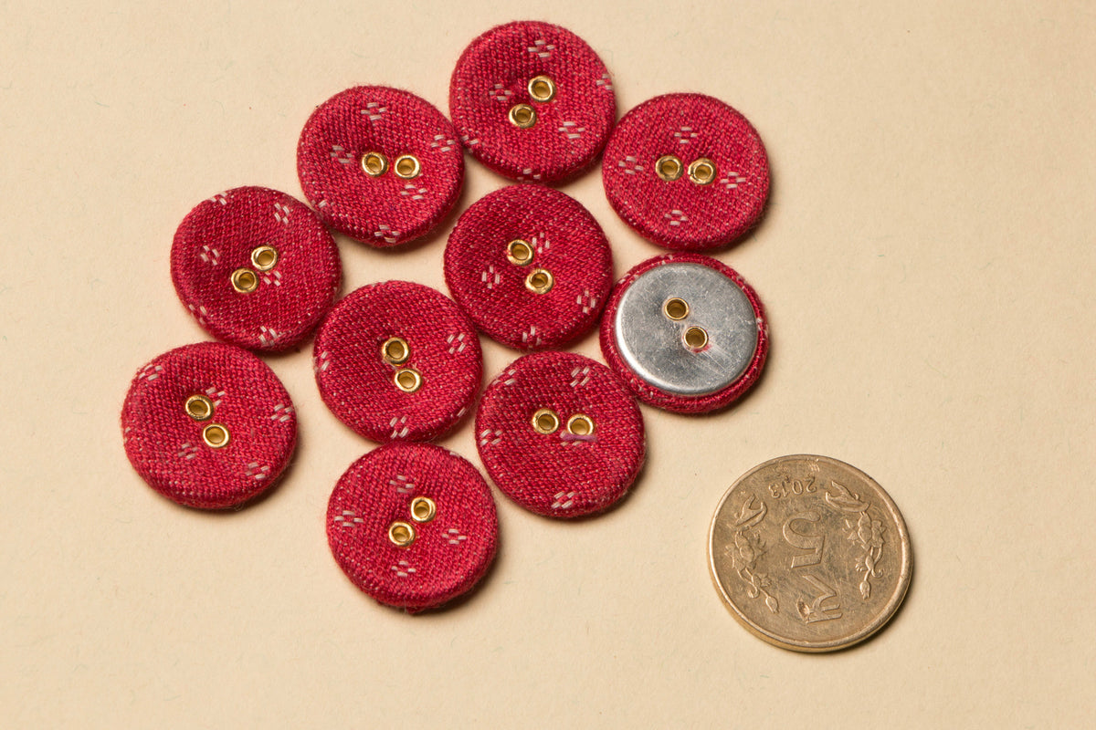 Mashru Fabric Button Medium (Set Of 10)