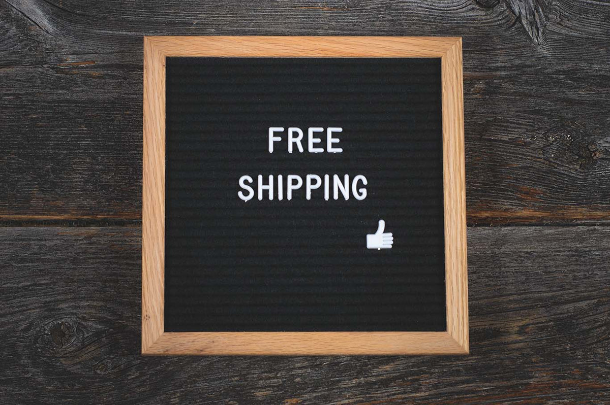 Sign showing free shipping to Australia, United Kingdom and United States