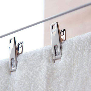 Stainless steel clothes pins pegs on laundry washing