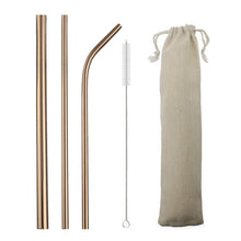 Load image into Gallery viewer, 5 Piece Gorgeous Reusable Stainless Steel Metal Straws