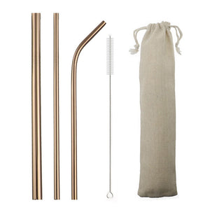 5 Piece Gorgeous Reusable Stainless Steel Metal Straws