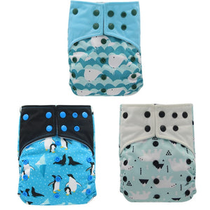 Reusable bamboo cloth nappies - diapers (3 Pack)