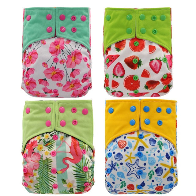 Reusable bamboo cloth nappies - diapers (4 pack)