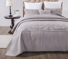 Load image into Gallery viewer, DaDa Bedding Elegant Fair Isle Purple Grey Yarn-Dyed Quilted Coverlet Bedspread Set