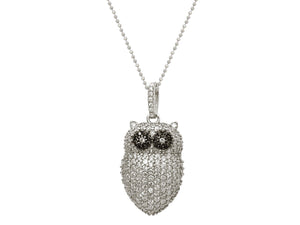 "Necklace: CZ Sparkling Owl Pendant w/ 18"" Beaded Silver Chain"