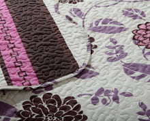 Load image into Gallery viewer, Bedroom Set: Bohemian Chrysanthemum Vines Hot Pink & Brown Reversible