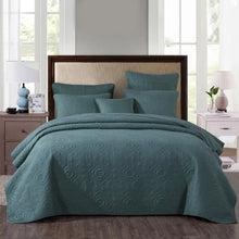 Load image into Gallery viewer, Bedding: Elegant Floral Earthy Green Cotton Quilted Bedspread Set