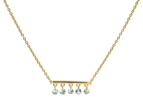 Briolette CZ Golden Bar Necklace by JN Designs