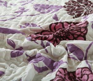 Bedroom Set: Bohemian Chrysanthemum Vines Hot Pink & Brown Reversible