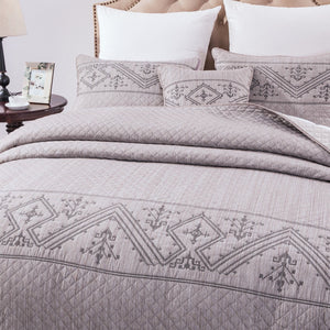 DaDa Bedding Elegant Fair Isle Purple Grey Yarn-Dyed Quilted Coverlet Bedspread Set