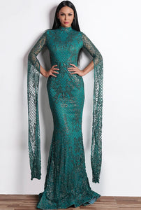 Belle of the Ball Evening Gown: Stunning Lattice, High Neck Gown
